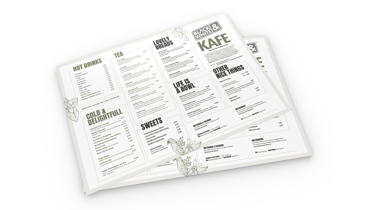 Black & White menukaart